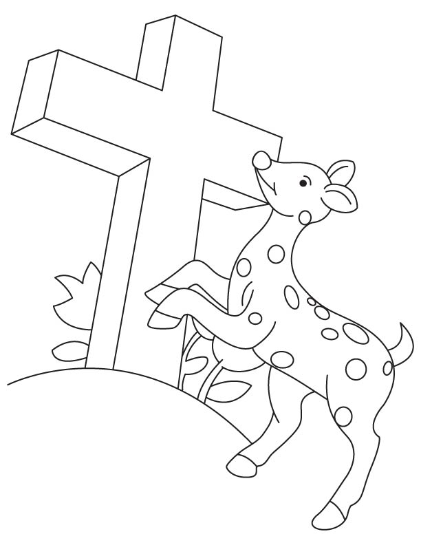 Deer praying to the lord coloring page