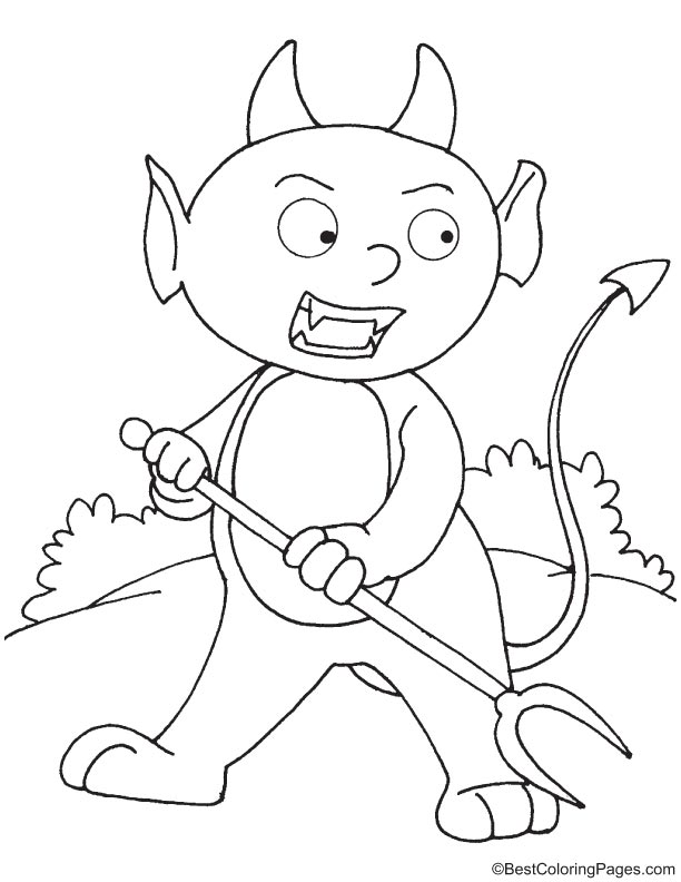 Devil attacking coloring page