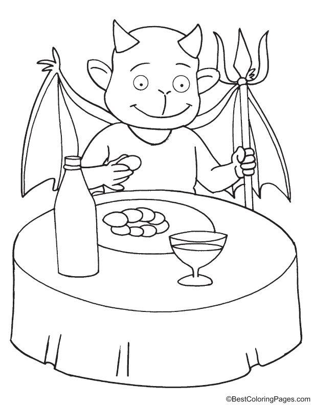 Devil having wine and food coloring page