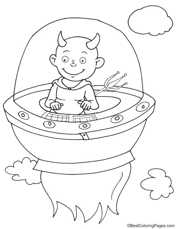 Devil in UFO coloring page