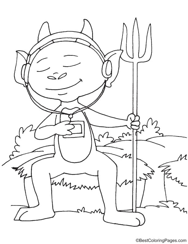 Devil listening to music coloring page