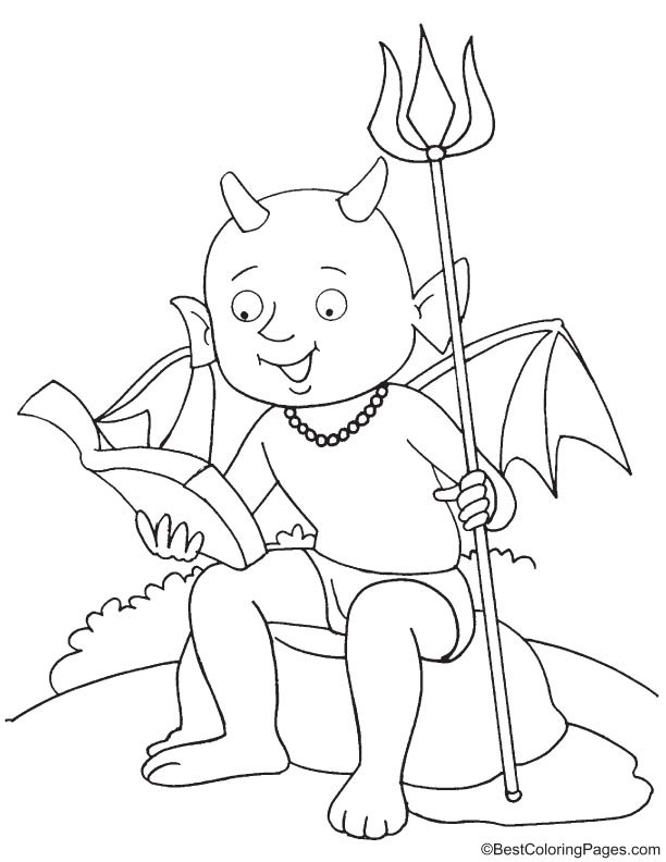 Devil reading the bible coloring page