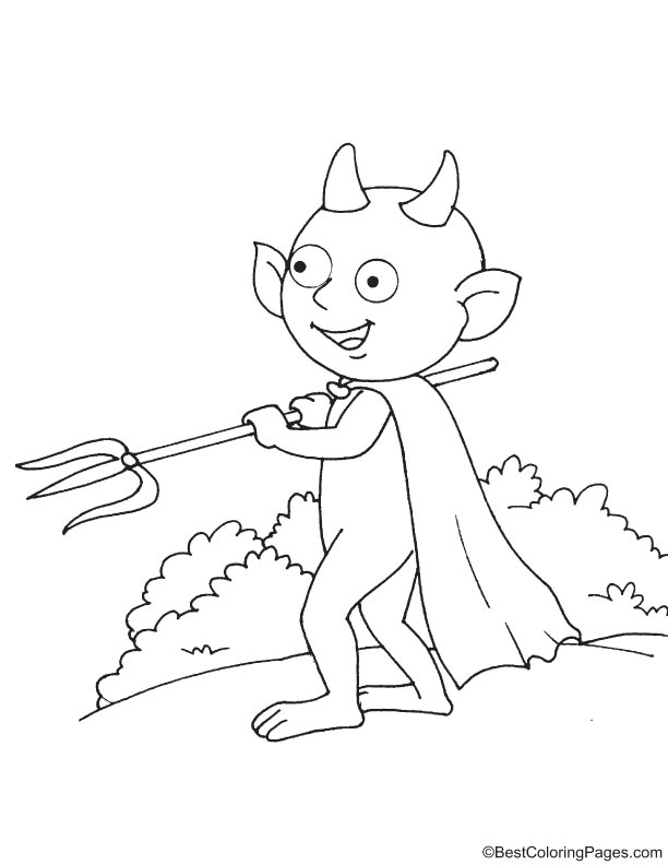 Devil ready to attack coloring page