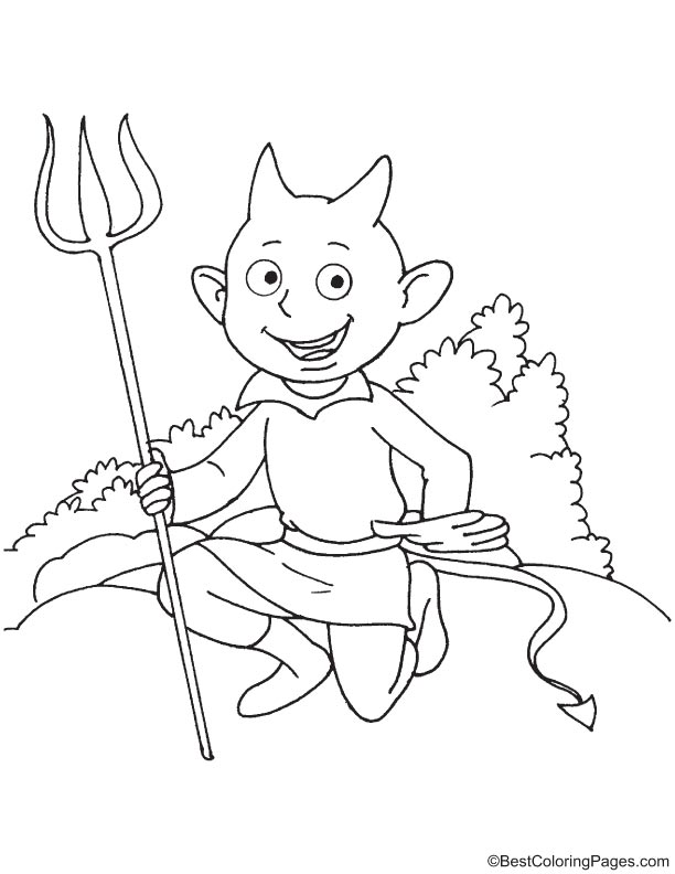 Devil with long trident coloring page