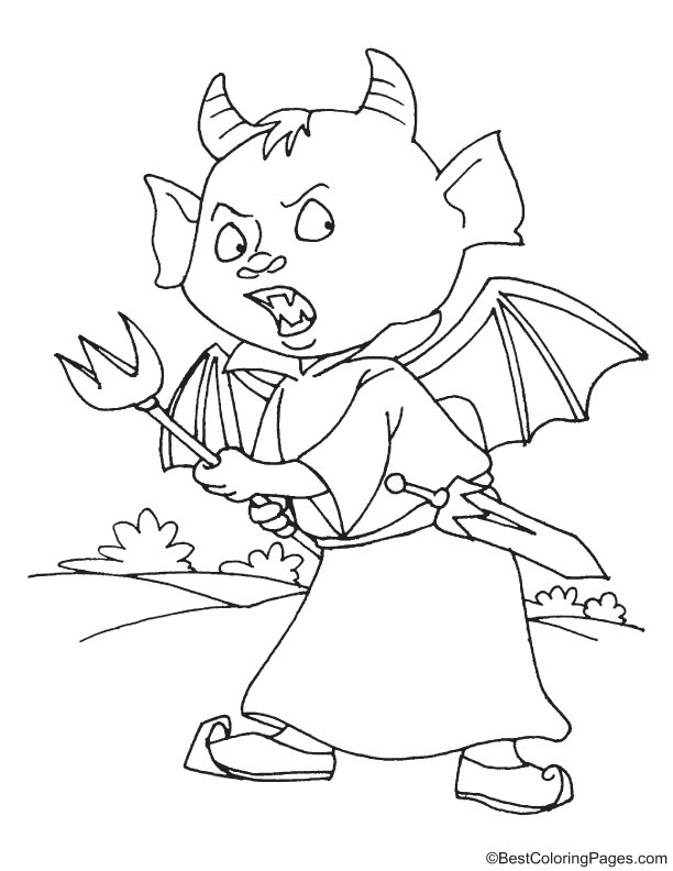 Devil with trident coloring page