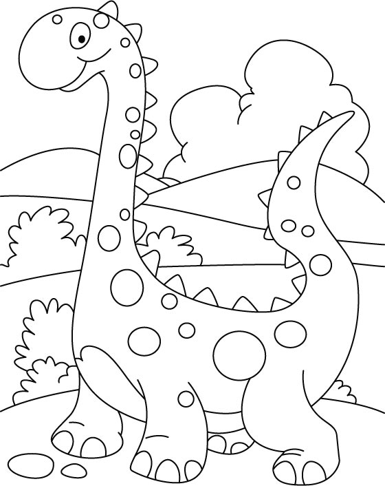 Walking Cute Dino Coloring Printout Page