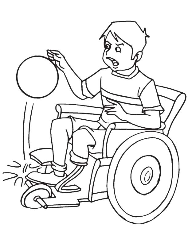 Disabled boy with basketball coloring page