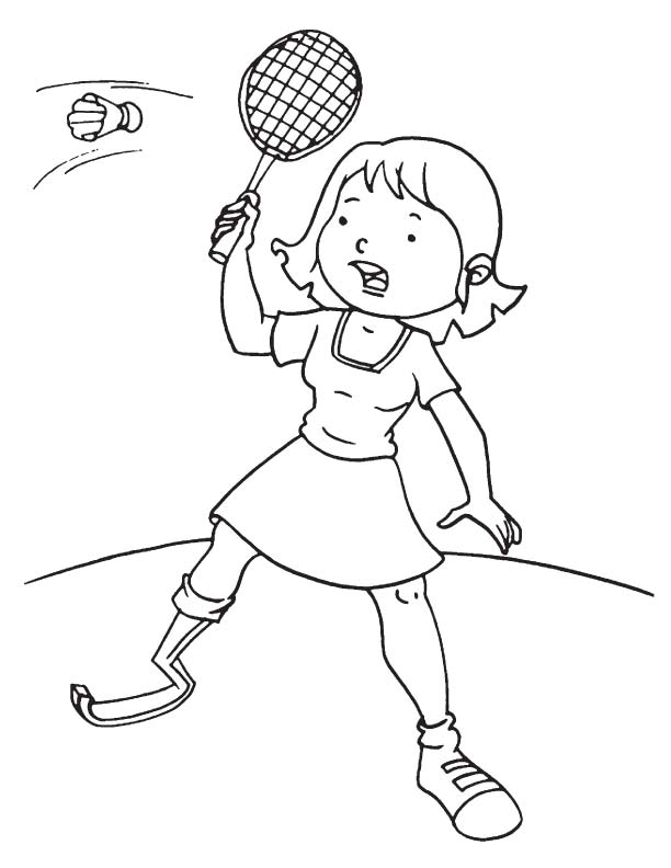 disabled girl playing badminton coloring page