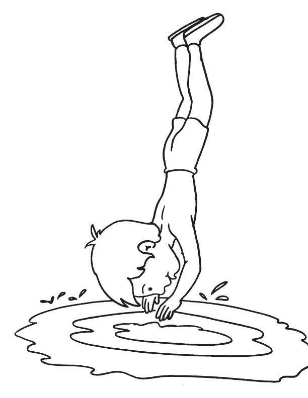 Dive in lake coloring page Download