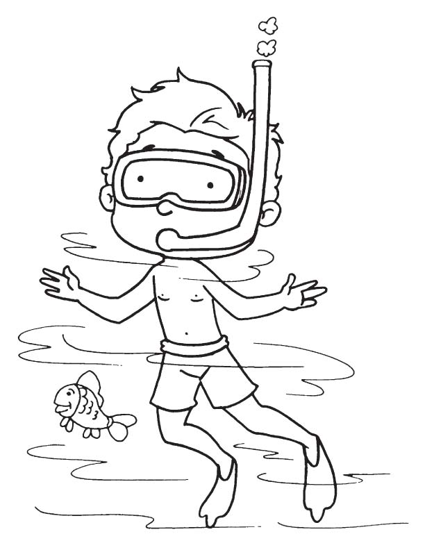 Free coloring pages of sea diver for Scuba diver coloring page