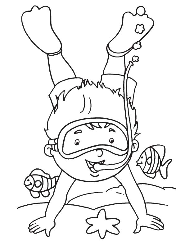 Diver With Fish Coloring Page