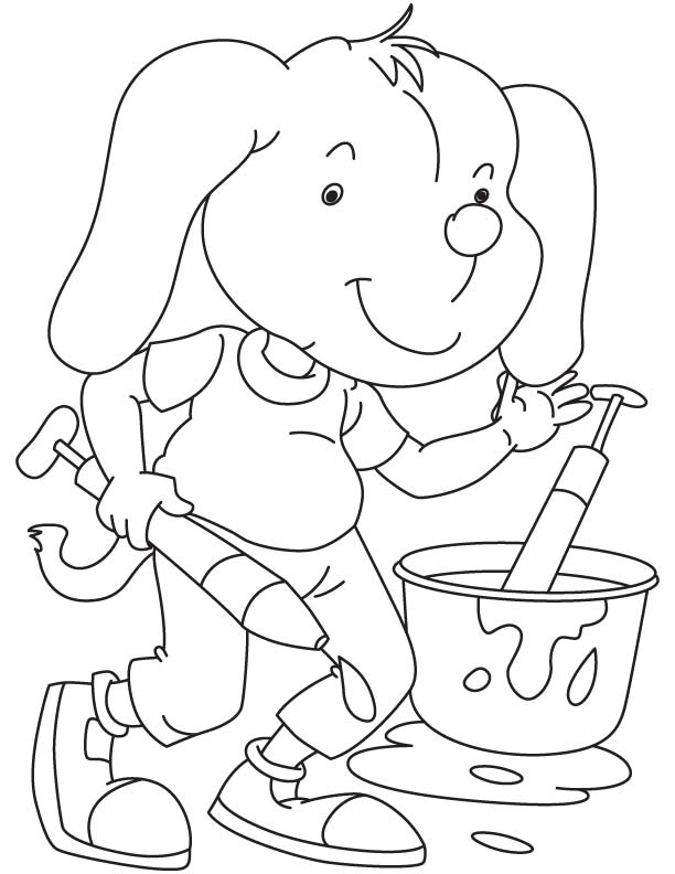 dog playing holi coloring page