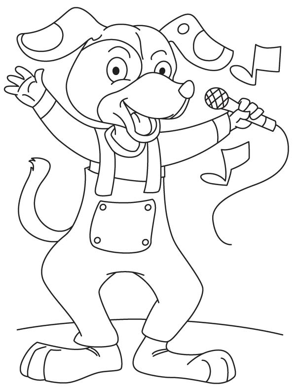 Dog singing a song coloring page  Download Free Dog singing a