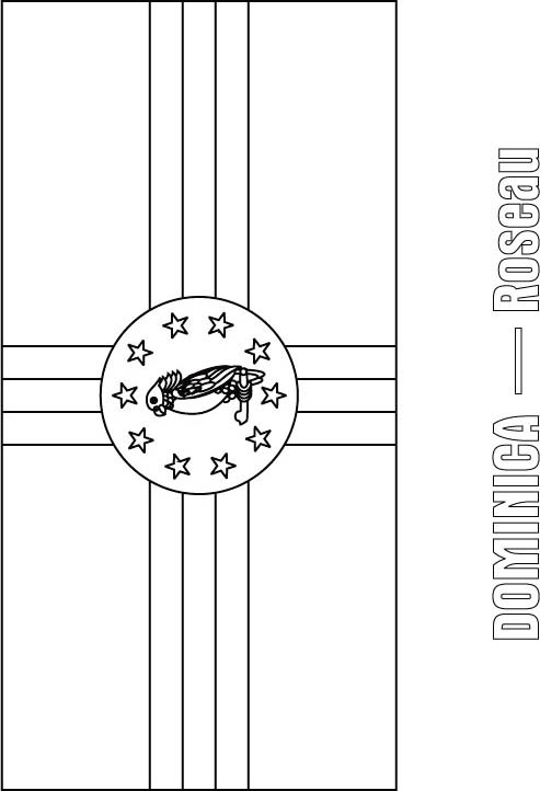 Dominica flag coloring page Download