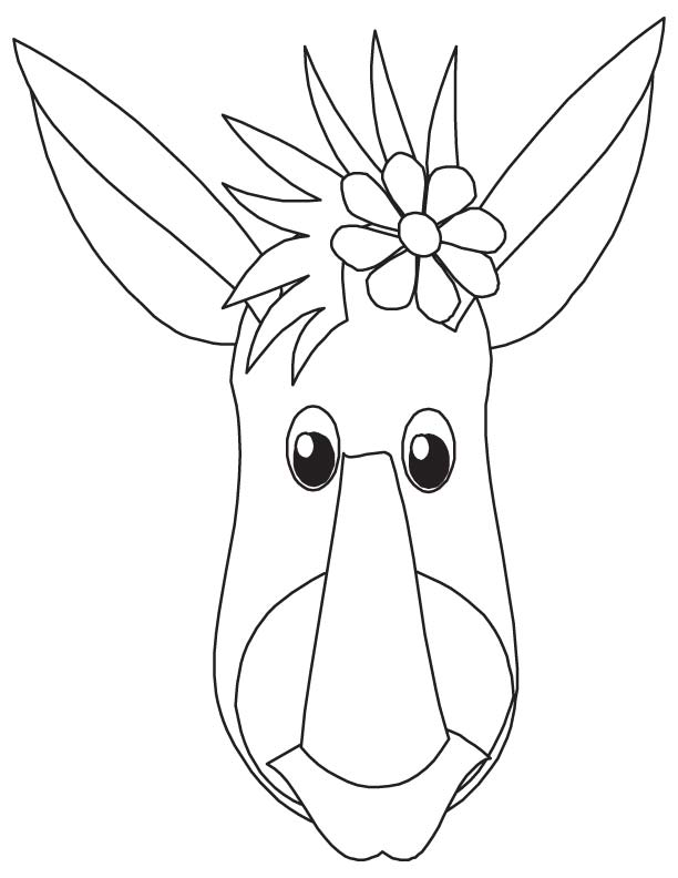 Donkey head coloring page coloring pages for Donkey coloring page