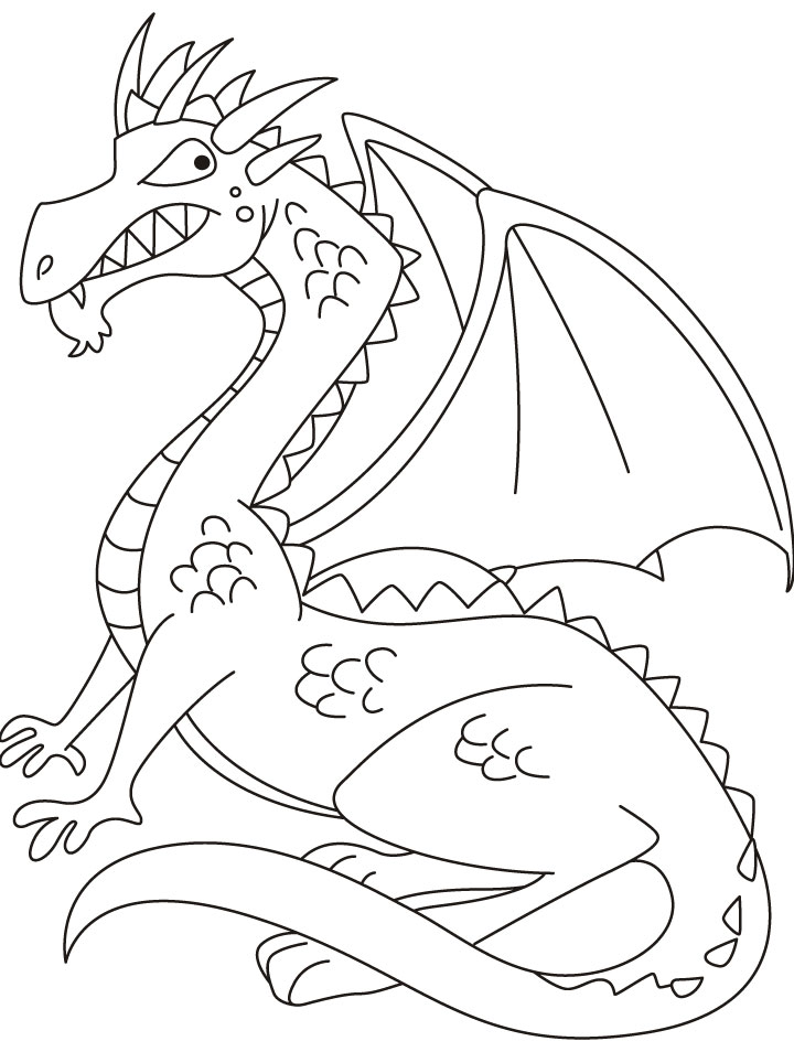 Flying Dragon Coloring Page. Free easy drawing dragons coloring ...