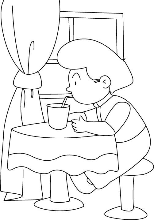 Drinking water with a straw coloring pages