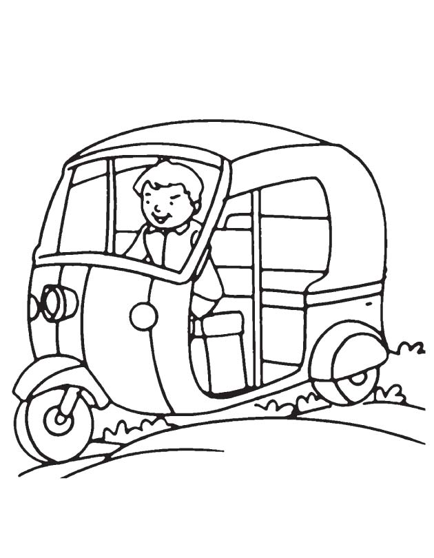 driving auto coloring page
