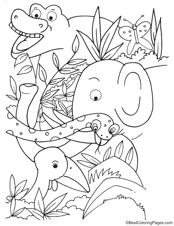 duck with forest animals coloring page