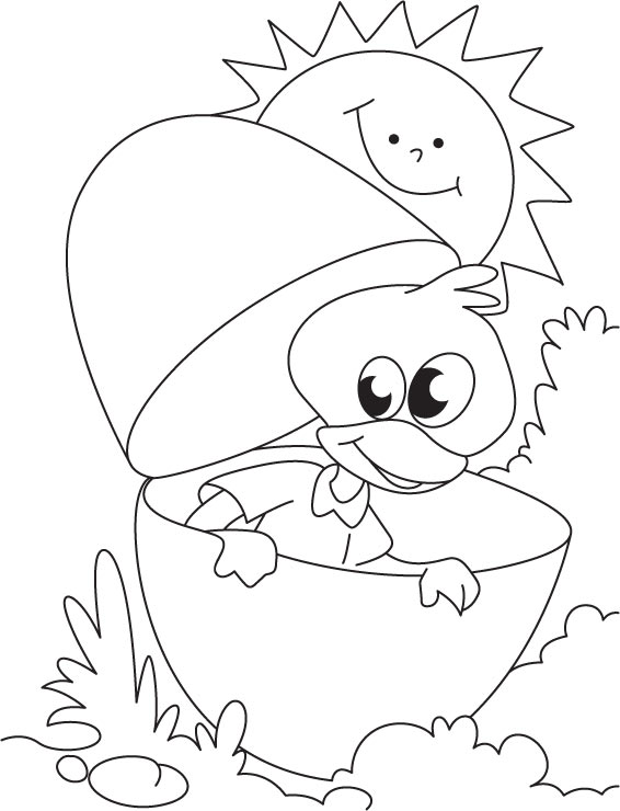 duckling playing hide and seek coloring page