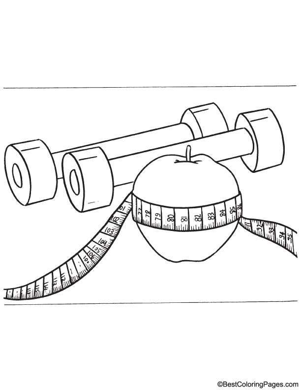 Dumbbell and apple coloring page