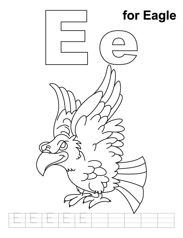 E for eagle coloring page with