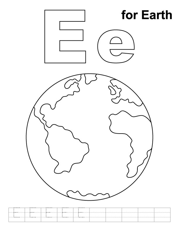 E for earth coloring page with handwriting practice