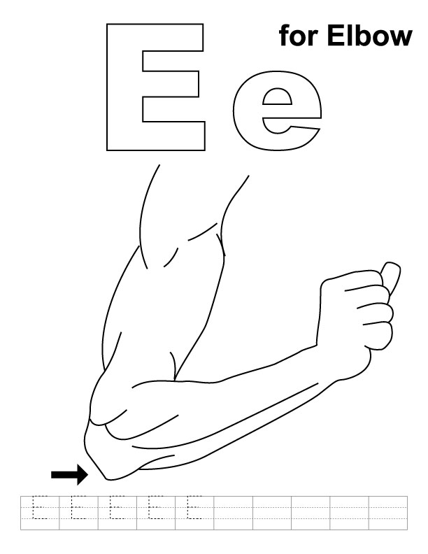 E for elbow coloring page with handwriting practice
