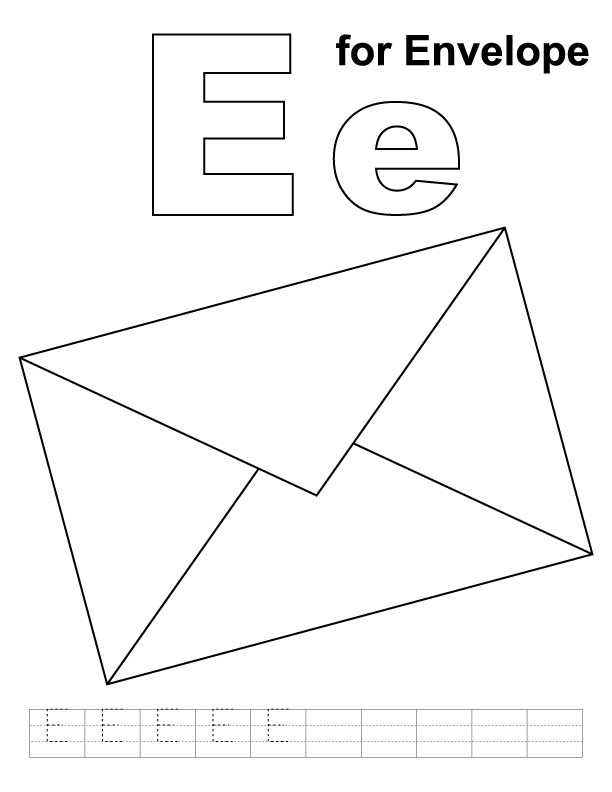 E For Envelope Coloring Page With Handwriting Practice