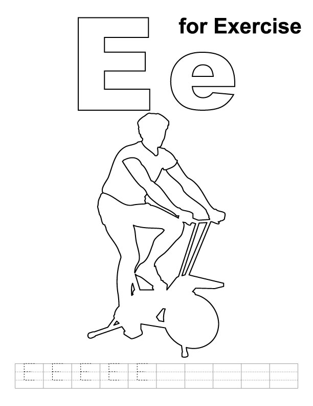 E for exercise coloring page with handwriting practice