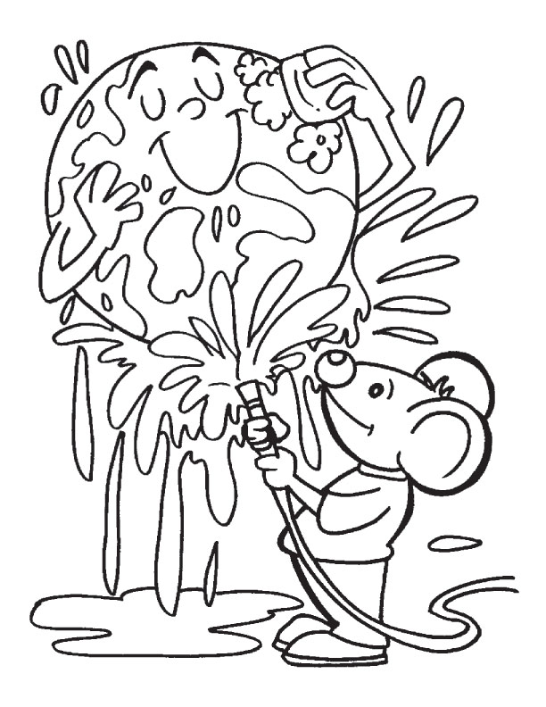 Keeping The Earth Clean Coloring Page