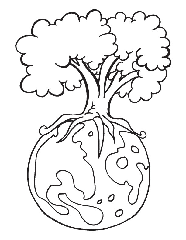 Protect Environment Is The Message Of Earth Day Coloring Page