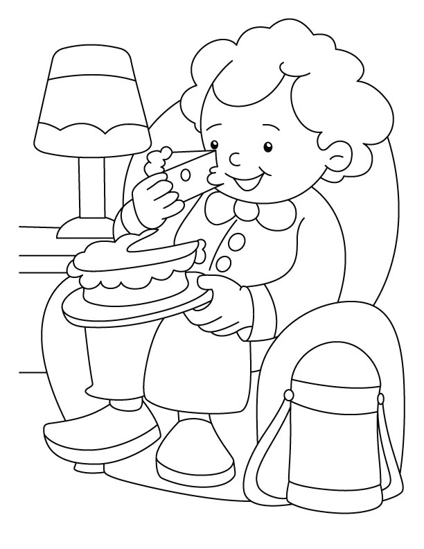 Enjoying a cake coloring page download free enjoying a for Eating coloring pages