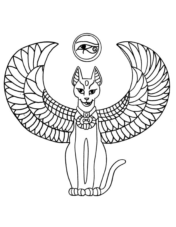 Egyptian Cat Tattoo Coloring Page Download Free Egyptian