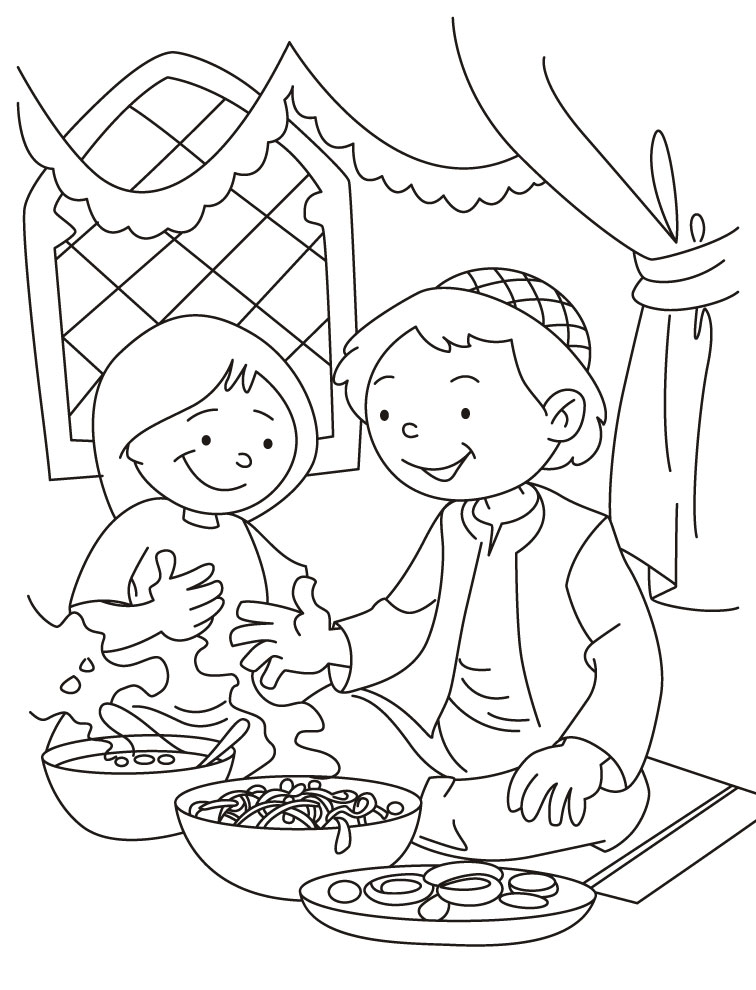Eid al-Fitr meal Coloring Page