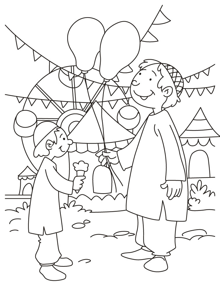 celebrating eid coloring page - Coloring Pages Download Free