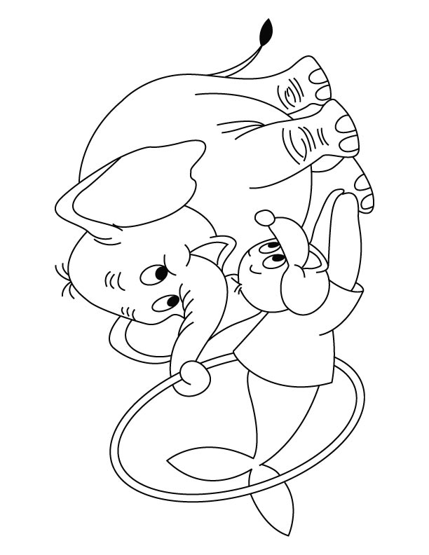 Elephant with seal showing circus coloring page