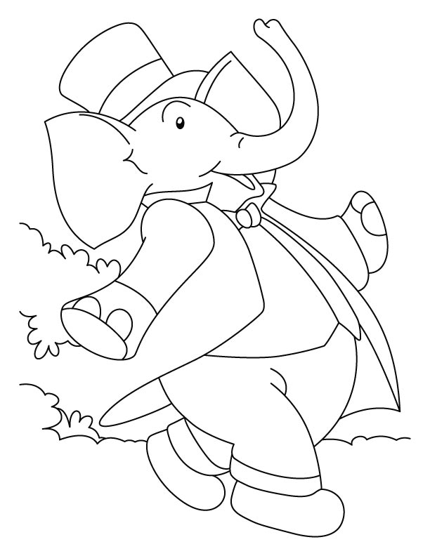 Elephant walking coloring page