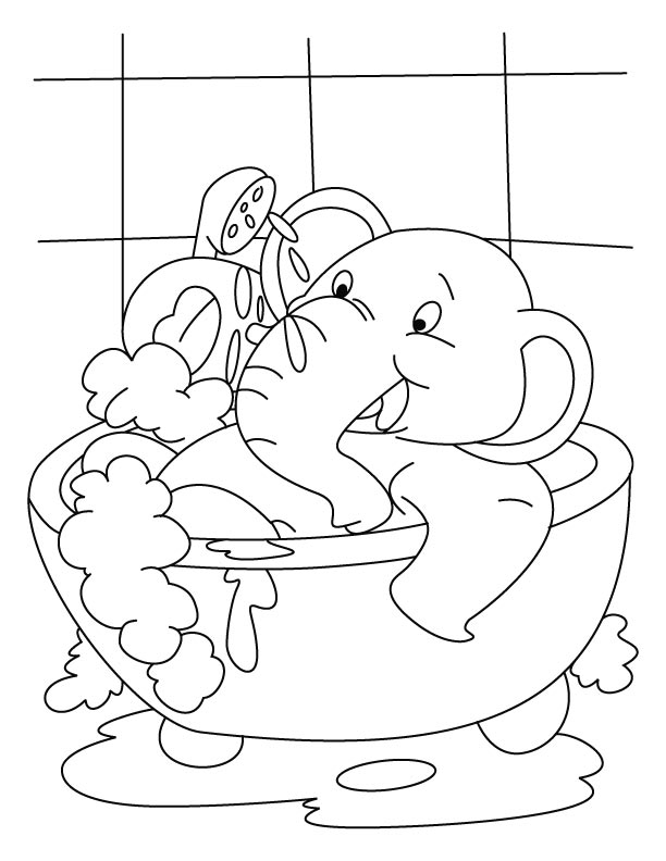 Elephant having bath in the tub coloring page