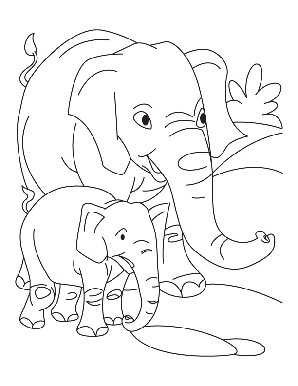 Elephant With Baby Coloring Pages