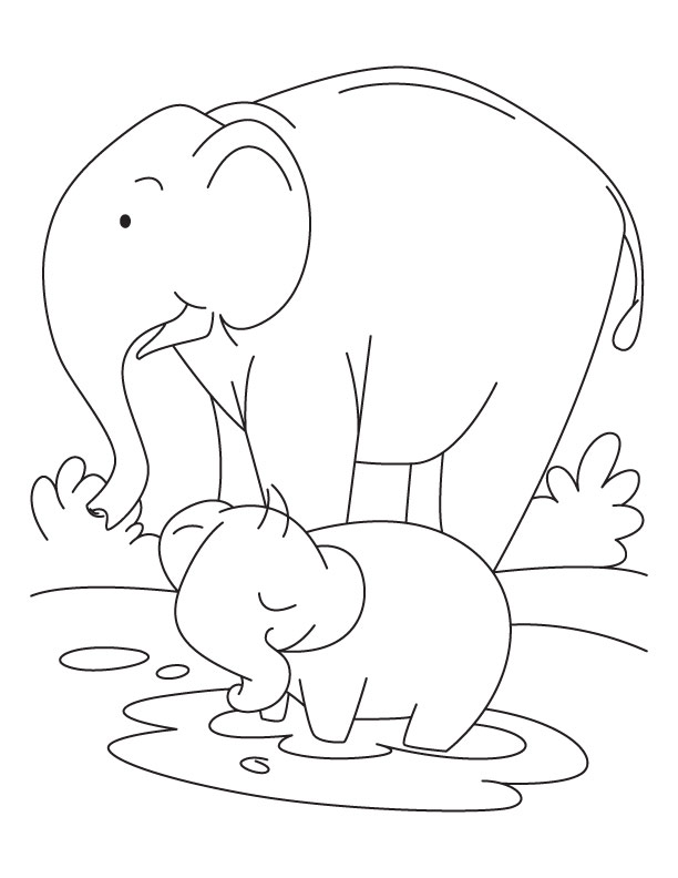 Elephant and Baby Elephant coloring pages Download Free Elephant