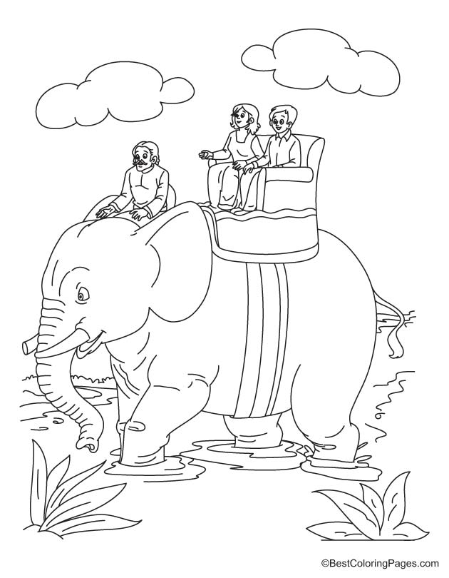 Enjoy elephant riding coloring page