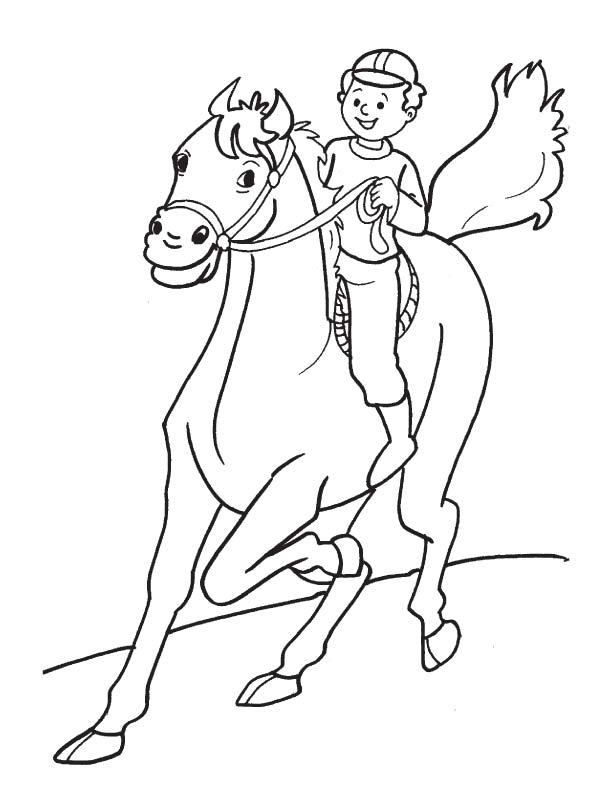 Enjoying horse riding coloring page | Download Free Enjoying horse ...