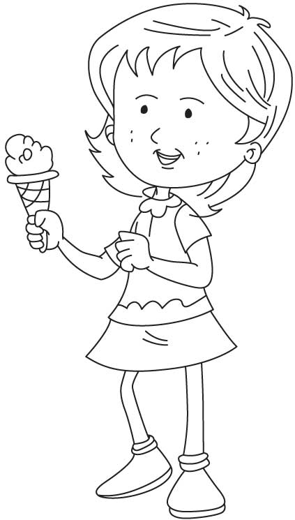 Enjoying icecream coloring page