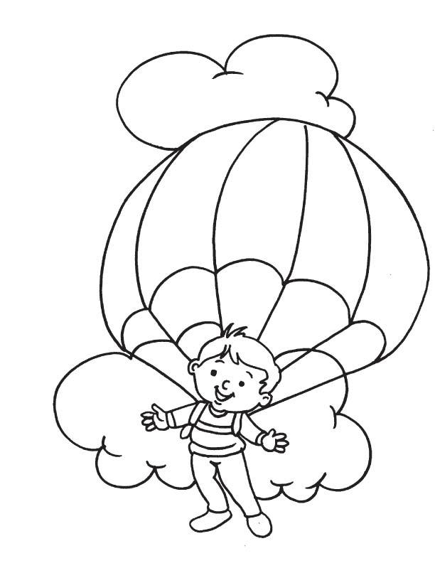 Enjoying parachuting coloring page