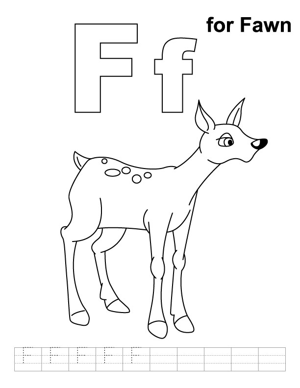 F for fawn coloring page with handwriting practice