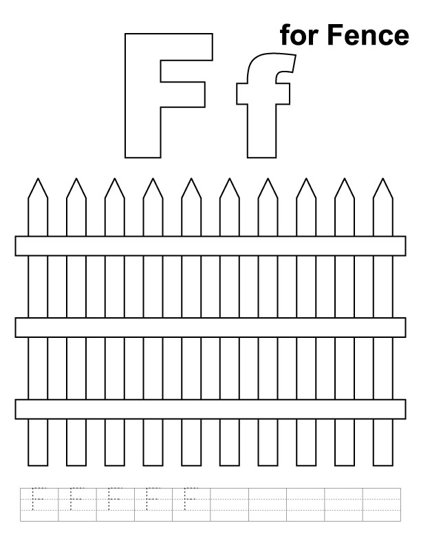 F for fence coloring page with handwriting practice