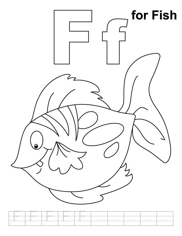 f for fish coloring pages - photo #1