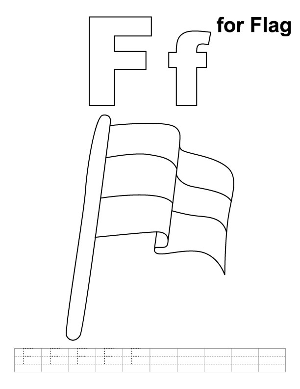 F for flag coloring page with handwriting practice