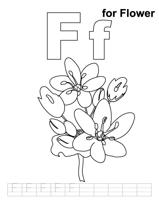 F for flower coloring page with handwriting practice